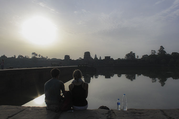 A nice spot to enjoy views of Angkor Wat while eating our buns