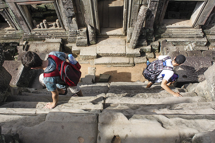 angkor thom - the steepest stairs we've been on