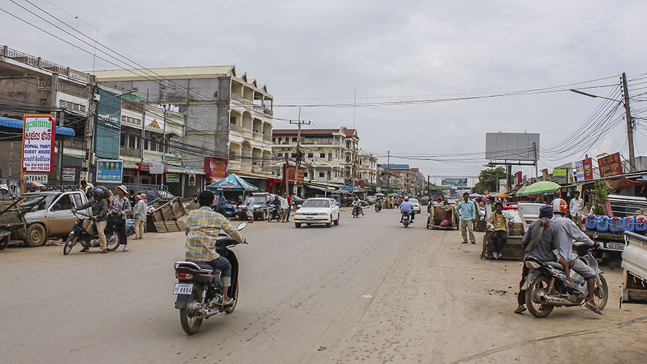 Poipet, Cambodia (border town) - searching for Mr. Channy, our taxi cab driver