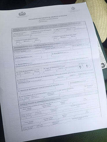 Immigration Papers - Bolivia - Wanderlusters