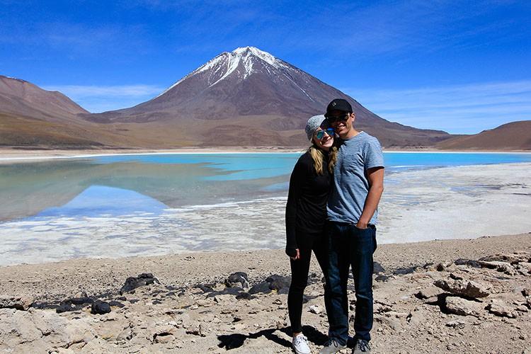 Us at the Green Lagoon - Bolivia Salt Flats Tour - Wanderlusters