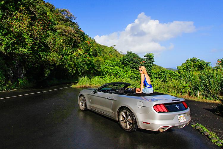 Convertible on Road to Hana - Maui Hawaii - Wanderlusters (750x500) copy