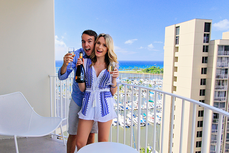 Engagement Champagne in Oahu Hawaii - Wanderlusters