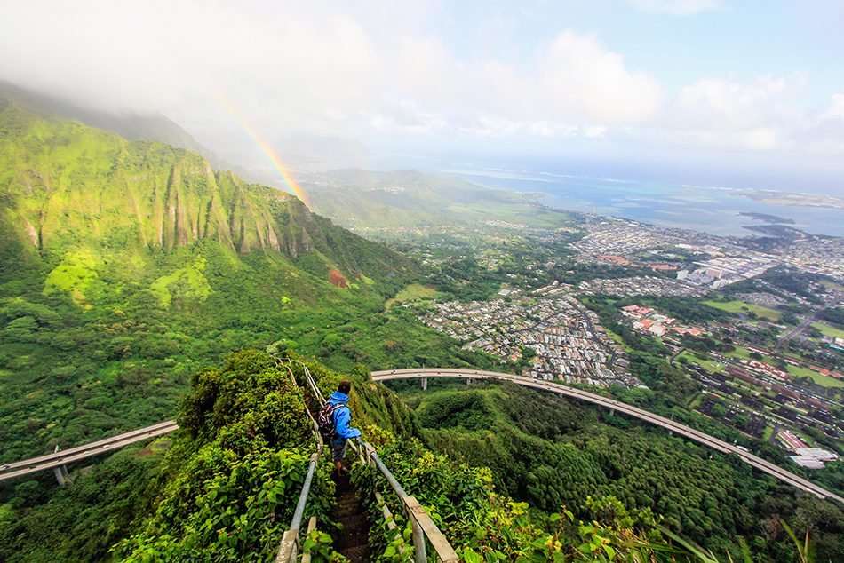 Haiku Stairs Rainbow - Oahu Hawaii - Wanderlusters (950)