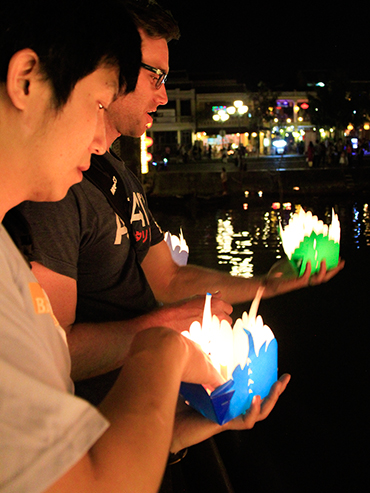 Dropping Lanterns into Water - Hoi An Vietnam - Wanderlusters (3x4)