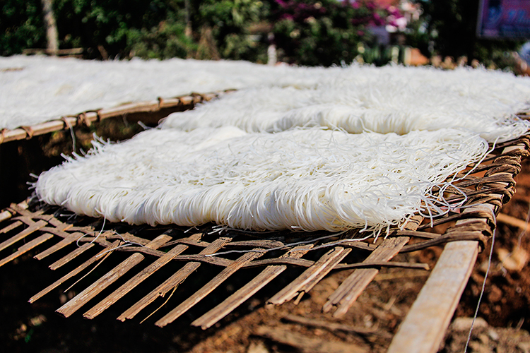 Drying Rice Noodles - Vietnam Easy Riders Tour - Wanderlusters