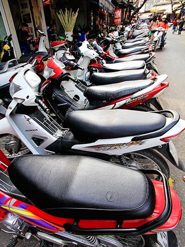 Motorcycles on Sidewalks - Hanoi Vietnam - Wanderlusters (3x4)