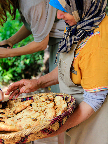 Serving Moroccan Bread - Maison Arabe Marrakesh Morocco - Wanderlusters (3x4)
